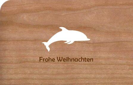 Holz-Weihnachtskarte mit Delfin
