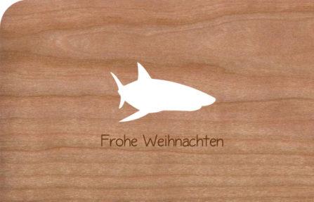 Holzkarte mit Hai