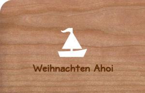 Holzkarte Ahoi mit Segelschiff