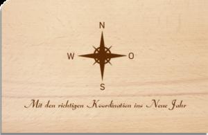 Holzpostkarte Windrose
