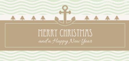 Weihnachtskarte maritim mit Anker und Wellen