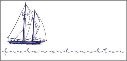Weihnachtskarte mit Segelboot