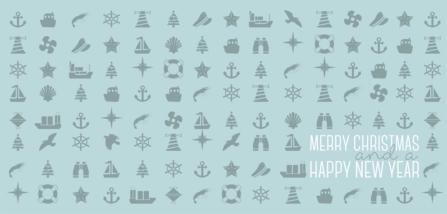 Weihnachtskarte maritim mit Icons