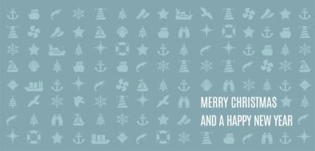 Weihnachtskarte maritime Icons dunkel
