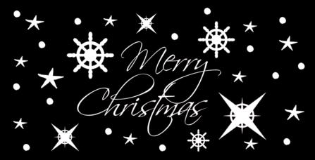 Weihnachtskarte schwarz-weiß maritim nautisch
