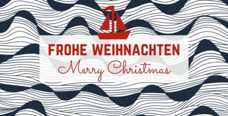 Weihnachtskarte mit Segelboot auf Wellen