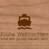 Weihnachtskarte aus Holz mit Boot