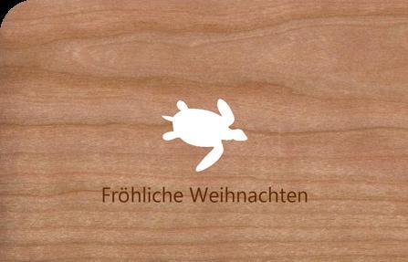 Holzkarte Weihnachten Schildkröte