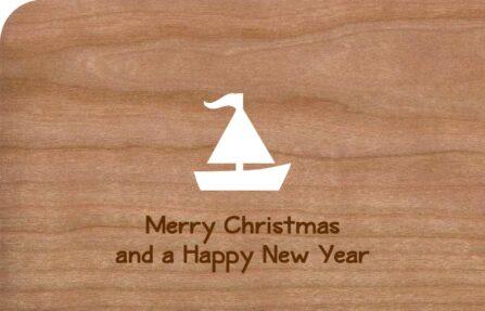 Holz-Weihnachtskarte Segelboot