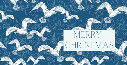 Weihnachtskarte maritim Möwen